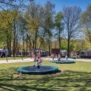 Speelveld, tafeltennistafels, jeu de boulesbaan en trampolines